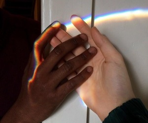 rainbow, hands, and black image