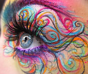 beauty, colorful, and eyeliner image
