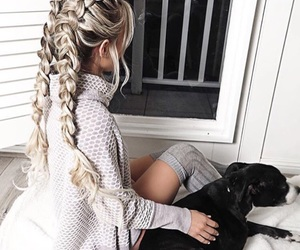 hair, girl, and dog image