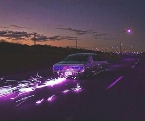 car, night, and purple image