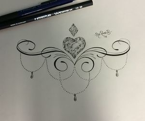 diamond, heart, and tat image