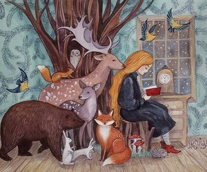 animals, art, and book image