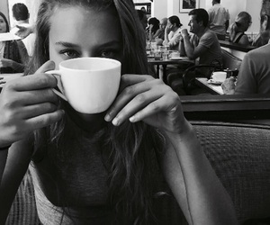 black and white, girl, and coffee image