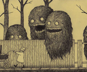 monster, creepy, and drawing image