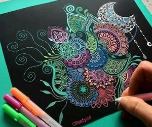 colores, negro, and zentangle art image