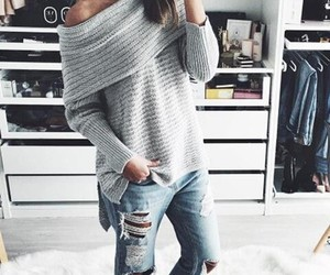 grey sweater, sexy sweater, and oversized sweater image