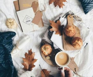 autumn, leaves, and breakfast image