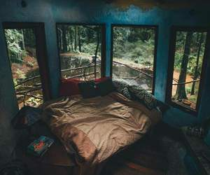 bedroom, room, and forest image