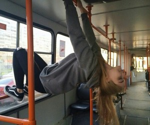 girl, bus, and grunge image