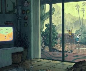 art, rain, and illustration image