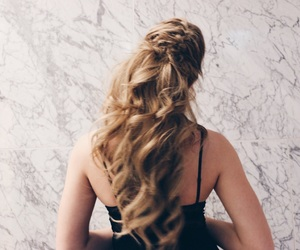 blonde, blonde hair, and curls image