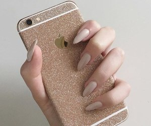 iphone, nails, and gold image