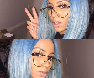 blue hair, girls, and glasses image