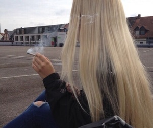 girl, blonde, and smoke image