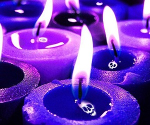 candle, purple, and skull image