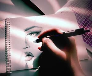 art, black, and eyes image