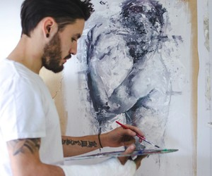 art, boy, and paint image