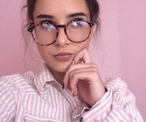 glasses, hair, and pink image