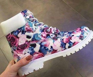 shoes, flowers, and timberland image