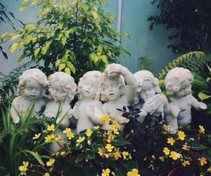 angels, aesthetic, and flowers image