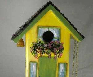 bird house, flowers, and green image