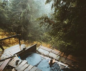 cabin, foggy, and place image