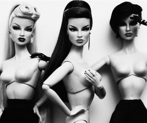 barbie and black and white image