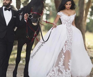 wedding, horse, and dress image
