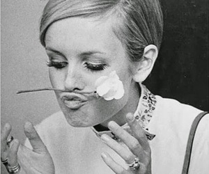 twiggy, flowers, and vintage image