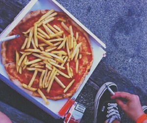 pizza, cigarette, and food image