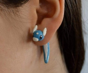 adorable, blue, and earrings image