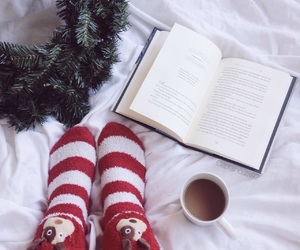 book, socks, and coffee image