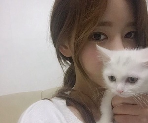 cat, ulzzang, and girl image