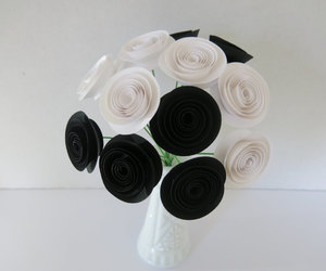 black and white, etsy, and paper flowers image