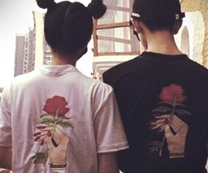 couple, rose, and grunge image