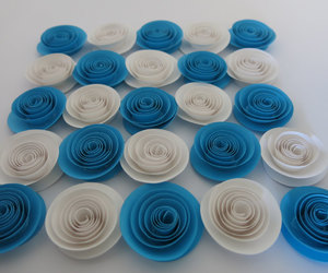 blue and white, centerpiece, and bridal shower party image