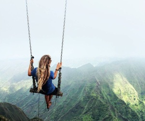 girl, nature, and swing image