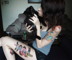 cat, girl, and tatto image