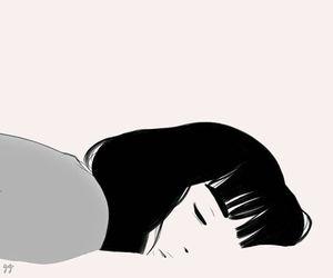 girl, art, and sleep image