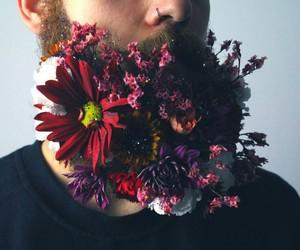 flowers, beard, and indie image