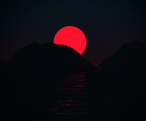 red, moon, and aesthetic image