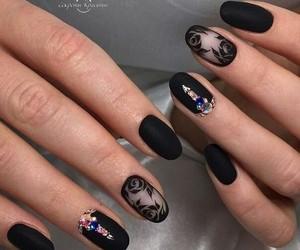 black, nails, and girl image