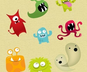 green, cute, and monster image