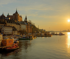 sunset, sweden, and city image