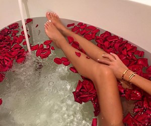 bath, legs, and roses image