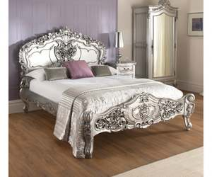 bedroom furniture, french furniture, and silver bed image