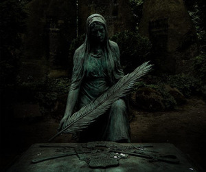 creepy, graveyard, and statue image
