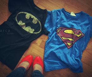 batman, superman, and t-shirt image