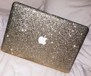apple, glitter, and macbook image