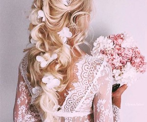flowers, white, and hairstyle image